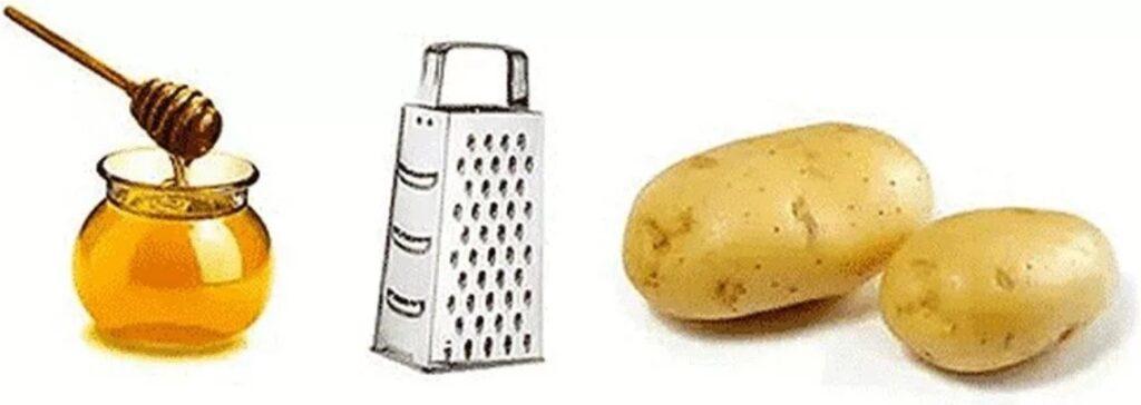 Сырой картофель и мед.